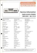 Nordmende Original Service Manual für Tape Clock RKR 2043