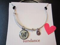 "Sundance Expandable Sterling Silver ""W"" Initial Bangle Bracelet $148.00-NWT"