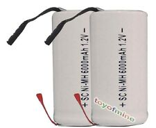2x Sub C SubC With Tab 6000mAh 1.2V Ni-MH Rechargeable Battery White High Power