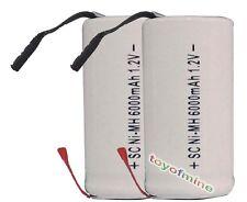 2x Sub C SubC Con Tab 6000mAh 1.2V Ni-MH batería recargable de alta potencia