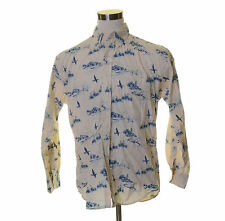 LANDS' END Ivory White Blue Willow Lighthouse Barn Boats Ducks Shirt M 15-15.5