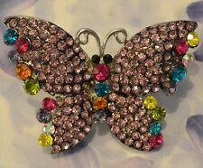Dolly-Bijoux Fantaisie Grosse Bague Papillon T50-62 Pavé Swarowsky Rose 55mm
