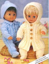 """Poupée PREM / bébé DK 12 """" - 20"""" manteau, chapeau-leggings-socks - veste à capuche à tricoter"""