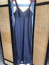 Vintage Black Nylon Long Full Slip Nightgown Bust 36 Lace Hem Sissy Lingerie