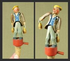 ANRI Carved Wooden MECHANICAL BOTTLE STOPPER - DRUNKEN MAN with Chianti Bottles