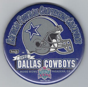 """1993 Dallas Cowboys NFC Champs Super Bowl XXVII button 3 1/2"""" Troy Aikman"""