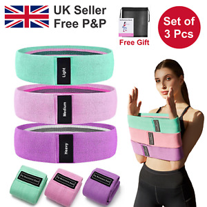 3PK Fabric Resistance Bands Loop Exercise Booty Sports Fitness Home Gym Yoga Set