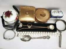 More details for job lot of vintage collectables, trinket boxes, diverse watch, rings,