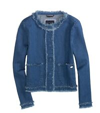 NWT Tommy Hilfiger Girls Frayed Denim Cotton Jacket