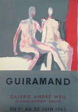 GUIRAMAND  AFFICHE LITHOGRAPHIE ORIGINALE MOURLOT ANDRE WEIL 1965