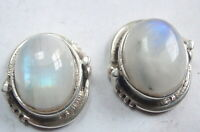 Moonstone Subtly Accented 925 Sterling Silver Stud Oval Earrings #48a