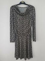 Ladies GEORGE Shift Dress Size 12 Black Paisley Stretch Long Sleeve Knee Length