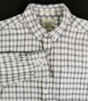 Lucky Brand Long Sleeve Shirt Size L Large Brown Black White Plaid 100% Cotton