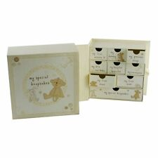 BUTTON CORNER BABY KEEPSAKE MEMORY BOX CHEST OF DRAWERS - FIRST TOOTH CURL GIFT