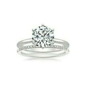 3 Ct Diamond Engagement Ring in 14K White Gold over with Wedding Band