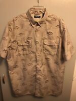 CHAPS Men's Vented Outdoor Fishing Shirt S/S Brown with Fish Print Size XL