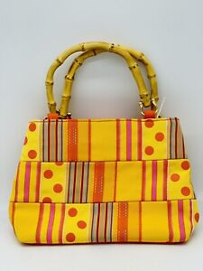"""Tiannl Yellow Purse with Bamboo Handles Unique 10"""" X 7"""""""