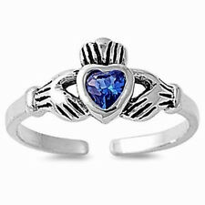 Silver Claddagh Toe Ring Sterling Silver 925 Best Adjustable Jewelry Blue CZ
