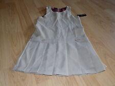 Girls Size 8 George Khaki Tan Beige School Uniform Pleated Jumper Dress New