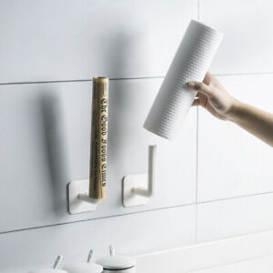 Kitchen Cabinet Paper Roll Self Adhesive Accessories Towel Holder Tissue Hook
