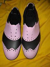 Biion Saddles Oxford Golf Slip On Black/Pink EVA Rubber Unisex  US Size M 5  W 7