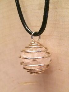 CLEAR QUARTZ Crystal Pendant Wire Spiral Cage Pendant Necklace Handmade