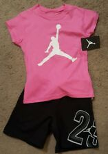 NWT Nike Air Jordan Girls 2pc shirt & short outfit set, reflective Small 5