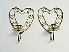 """Pair of Brass Plated Heart Shaped Wall Candle Sconces - 8.25""""h x 5.75w"""" x 3.5""""d"""