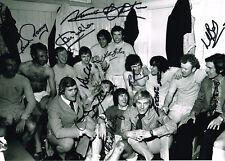 RARE  MULTI SIGNED 1972 FA CUP SEMI SIGNED A4 PHOTO LEEDS UNITED COA AUTOGRAPH