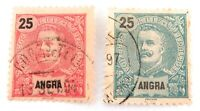 .ANGRA, PORTUGAL 1896 - 1899 2 x 25 REIS USED HINGED STAMPS. GOOD GRADE.