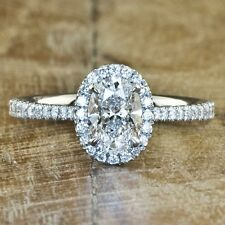 2.10 Ct. Halo Oval Cut Engagement Ring U Setting Made in USA G, VS2 14k WG GIA