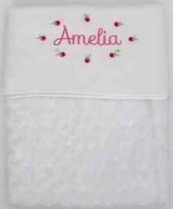 Personalised Rose Swirl Soft Blanket Embroidered  New Baby Girl  Fast Dispatch!