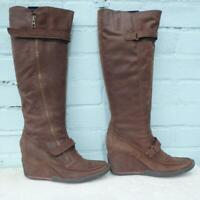 Bertie Leather Boots Size Uk 8 Eur 41 Sexy Womens Ladies Wedge Brown Boots