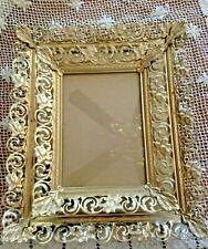 Set Of 2 Vtg Hollywood Regency Curly Floral Enamel & Brass Frames 8 X 10 & 5 X 7