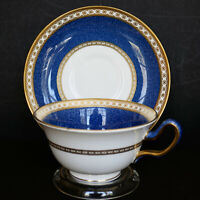 Wedgwood Ulander Powder Blue Cup Saucer W2376 Peony Shape Footed England Vintage