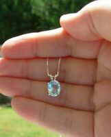 GENUINE AQUAMARINE MORE BLUE 10x8MM PENDANT CHAIN NECKLACE STERLING SILVER