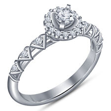 Round Cut White Diamond New 925 Sterling Silver Vintage Engagement Ring Sze 5 6
