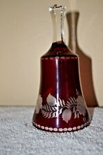 Vintage Ruby Red Etched Crystal Bell 6""