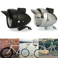 Metal Chrome Headlight Vintage Bicycle Retro LED Bike Front Fog Light Headlamp