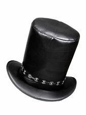 Zylinder Lederoptik Schwarz Accessoires Hut Kostüm Karneval Fasching