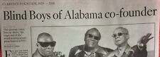 CLARENCE FOUNTAIN 1929 - 2018 OBITUARY SINGER BLIND BOYS ALABAMA HIGHER GROUND