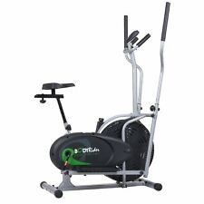 2-in-1 Hybrid Elliptical Trainer & Upright Cycle, Adjustable Manual Cardio Bike