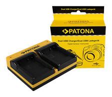 Caricabatteria USB dual Patona per Panasonic Lumix DMC-FT3,DMC-FT4,DMC-FX40