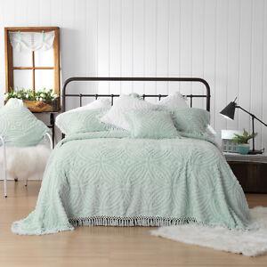 Kalia Blue Bedspread Set | Bianca | Cotton chenille | Intricate Plaited Tassels