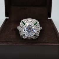 2.18 Ct Round Cut & Emerald Antique Art Deco Engagement Ring 14k White Gold Over