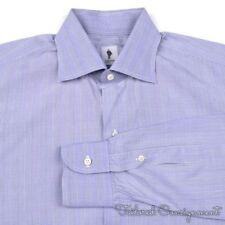 LORENZINI Purple White POW Plaid Check Cotton Mens Luxury Dress Shirt - 14.5