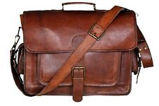 Large Real Goat Leather Vintage Brown Messenger Shoulder Laptop Bag Briefcase