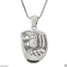 W Swarovski Crystal Baseball Softball Glove Ball New Pendant Necklace Gift