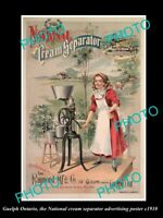 OLD POSTCARD SIZE PHOTO OF GUELPH ONTARIO THE CREAM SEPARATOR AD POSTER c1910