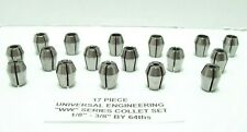 WW COLLETS 17PC set 1/8-3/8 by 64ths for kwik switch 200 universal engineering